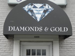 Diamonds and Gold Eye Catching Awning Graphics